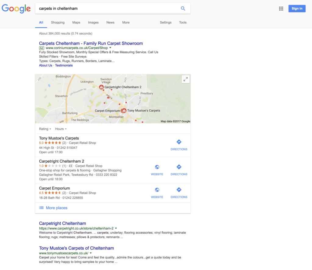 cheltenham local search example